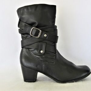 Faded Glory Black Heel Boots Zip Up Size 6